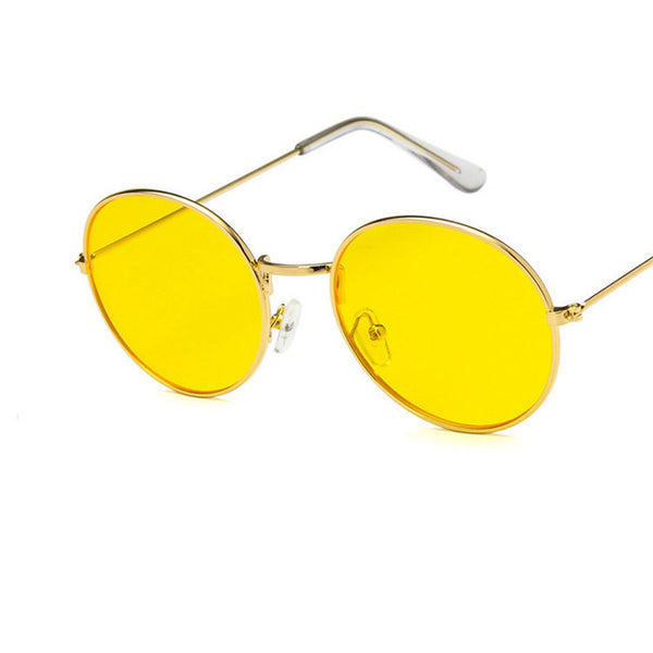 Vintage Men Sunglasses Retro Punk Style Round Metal Frame Colorful Lens Sun Glasses Fashion Eyewear Gafas