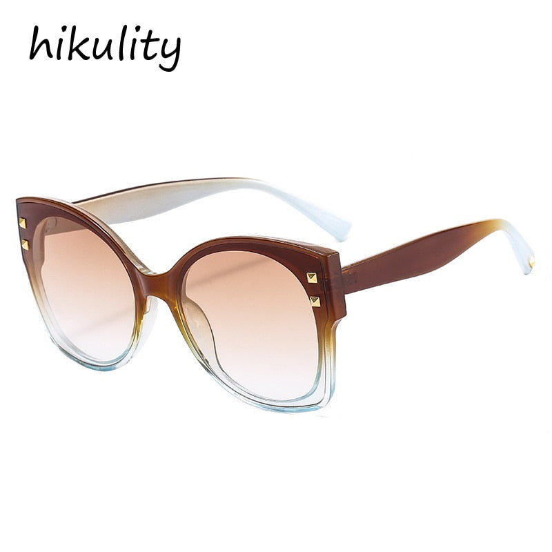 Oversized rivet round cat eye women's sunglasses gradient sunglasses