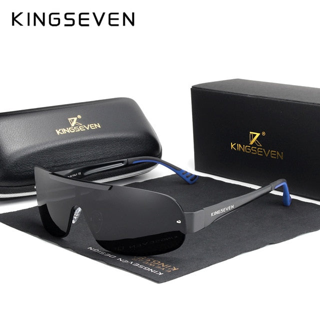 KINGSEVEN Design Aluminum Men's Glasses Polarized Sunglasses Goggle Integrated Lens Original Eyewear New