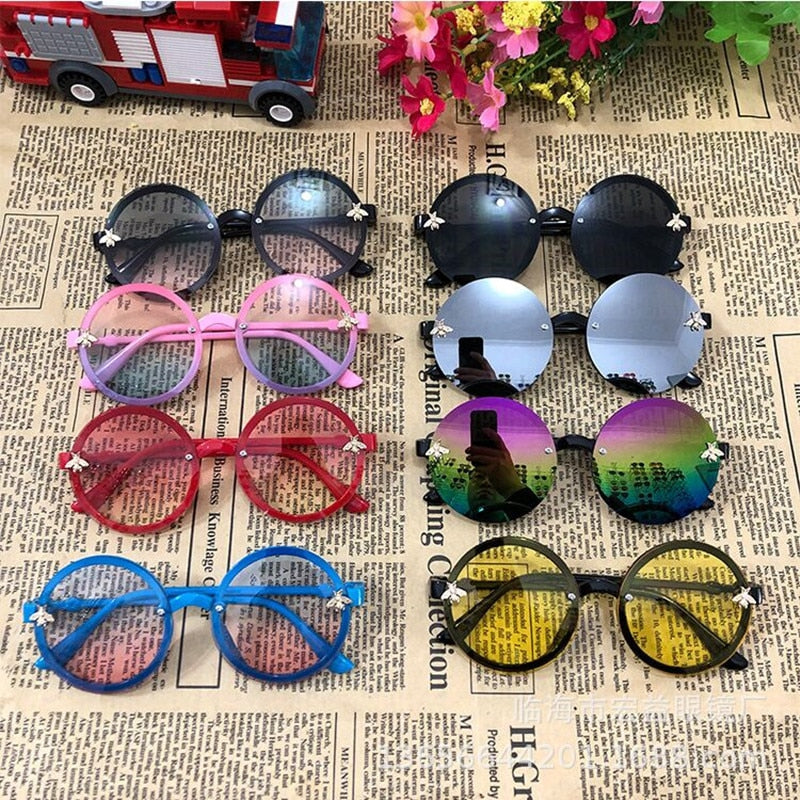 Child Round Sunglasses Children Fashion Cute Little Bee Sunglasses Kids