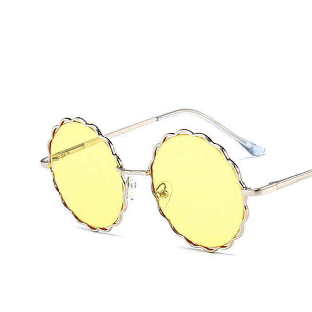 Kids Sunglasses Metal Frame Flower Round for Boys Girls Children Sunglasses