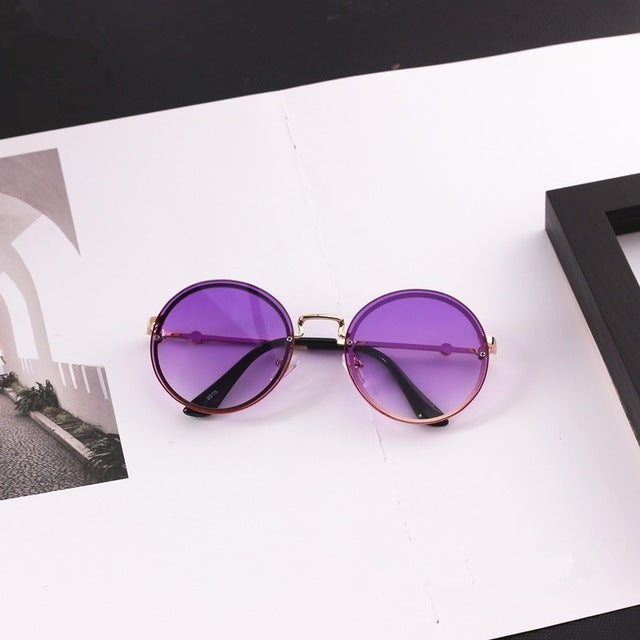 New Kids Sunglasses Metal Round Rimless Sport Sunglasses UV400 for Boys & Girls