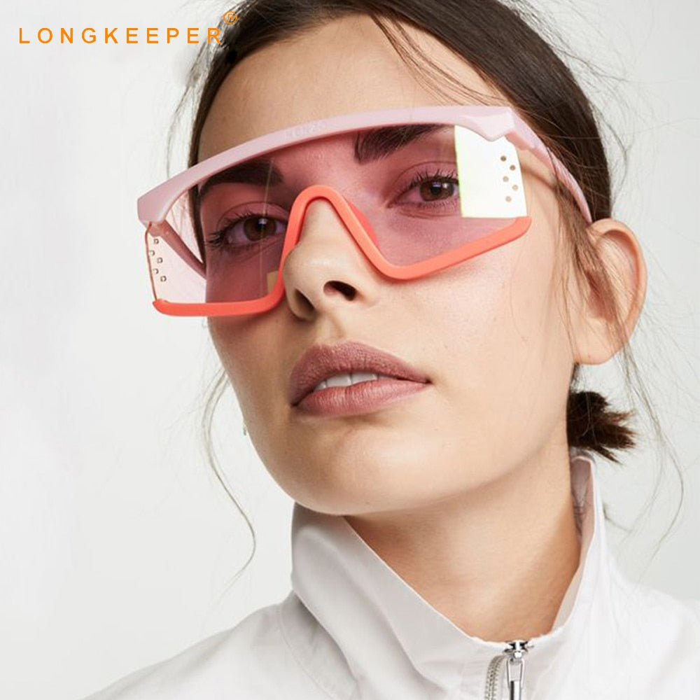 New Oversized Square Sunglasses Women Punk Big Frame Glasses Men Cool Goggles colorful Eyewear Travel Gafas