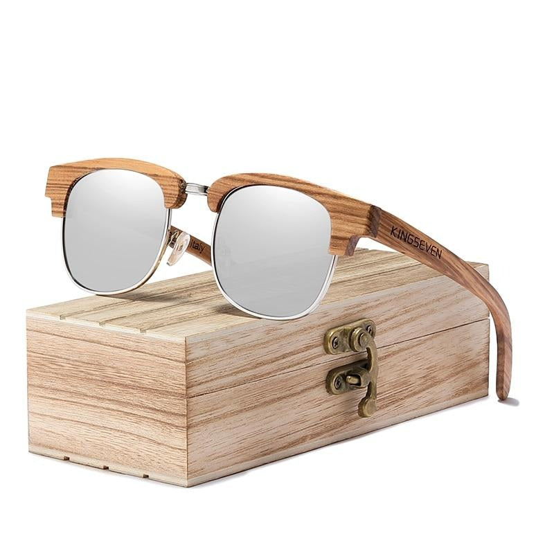 KINGSEVEN 2020 New Retro Wooden Natural Male Sunglasses Polarized Men Spring Hinge UV400 Protection