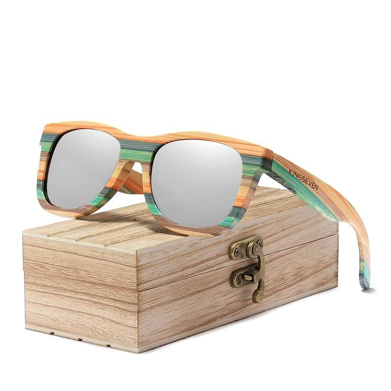 KINGSEVEN 2020 Retro Bamboo Sunglasses Unisex Polarized Mirror UV400 Sun Glasses Full Frame Wood