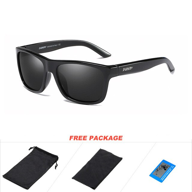 DUBERY New Square Polarized Sunglasses Men Fashion Green Mirror Shades Male UV Protection Driving Sport Sun Glasses for Men