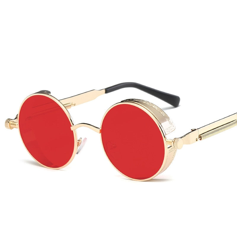 Gothic Steampunk Round Metal Sunglasses for Men Mirrored Circle Sunglasses Retro Vintage