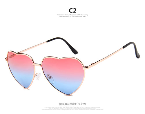 Love Heart Shaped Sunglasses Women Candy Color Metal Frame Eyewear