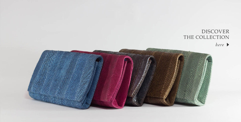 colorful blue, magenta, metallic, brown and mint clutch collection handmade with salmon leather