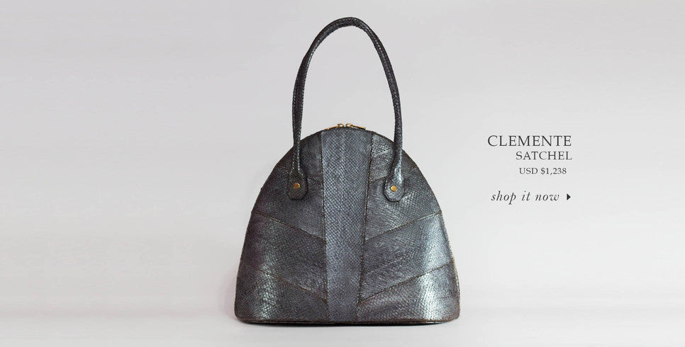 metallic sustainable luxury satchel handbag handmade in salmon leather to shop online