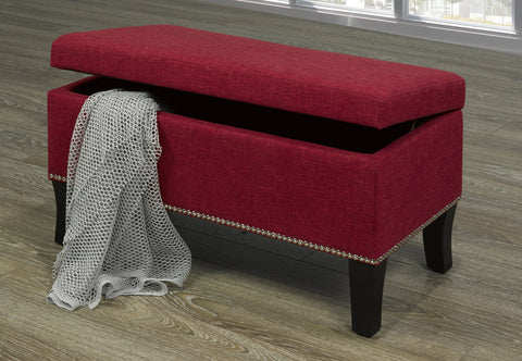 A-109 Red Fabric Storage Bench - mrfurnitureandmattress