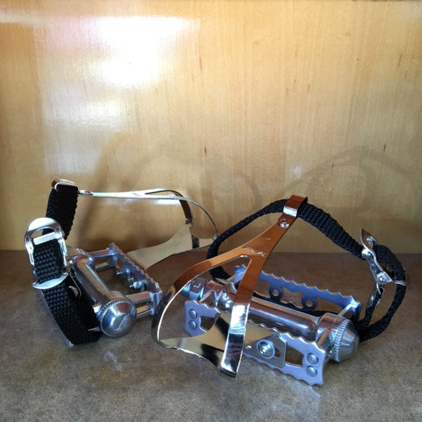 MKS Sylvan Touring Pedals with Large Chrome MKS Toe Clips and Nylon Straps - CLOSEOUT PRICE