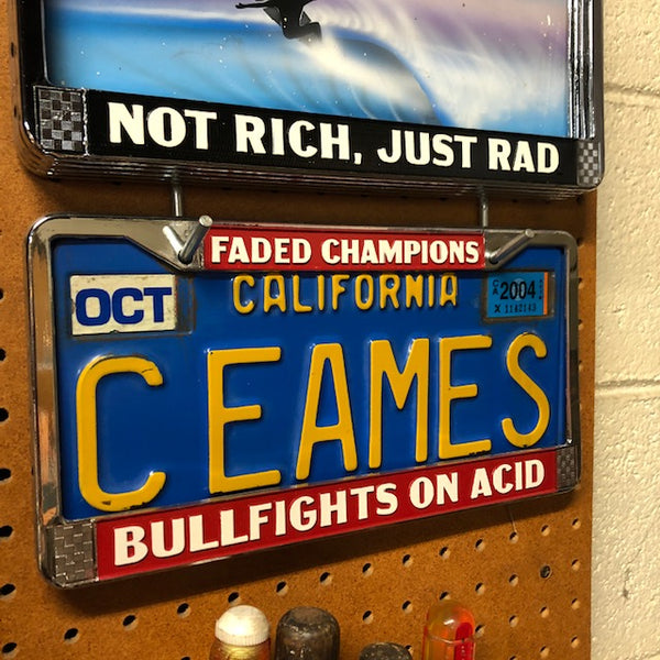 License Plate Frame - Bullfights on Acid - Faded Champions Edition