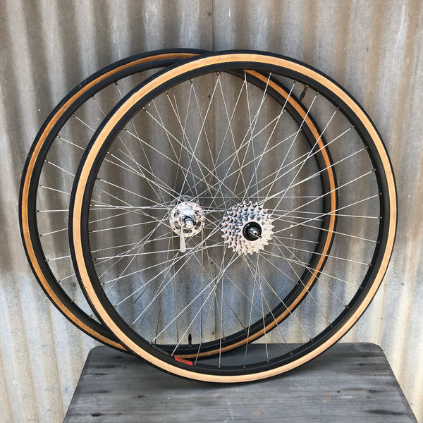 Vintage Campagnolo Wheelset - Record High Flange Hubs Laced with Stainless Spokes to Mavic MA-40s