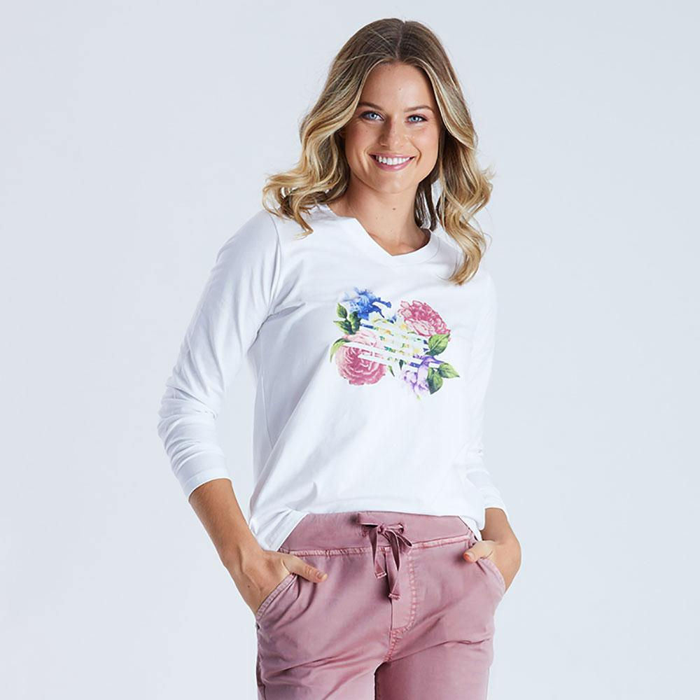 Floral White Long Sleeve Tee