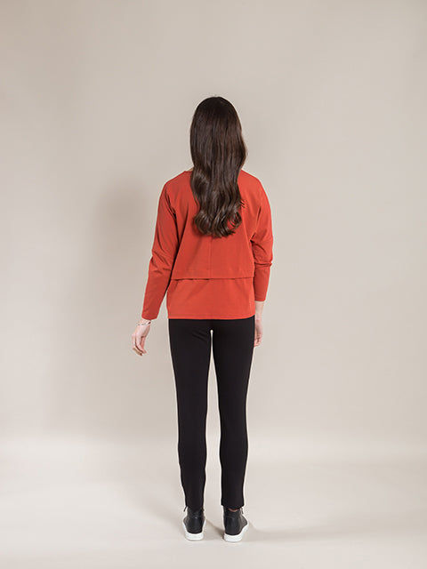 Long Sleeve Top with Sleeve Pleat