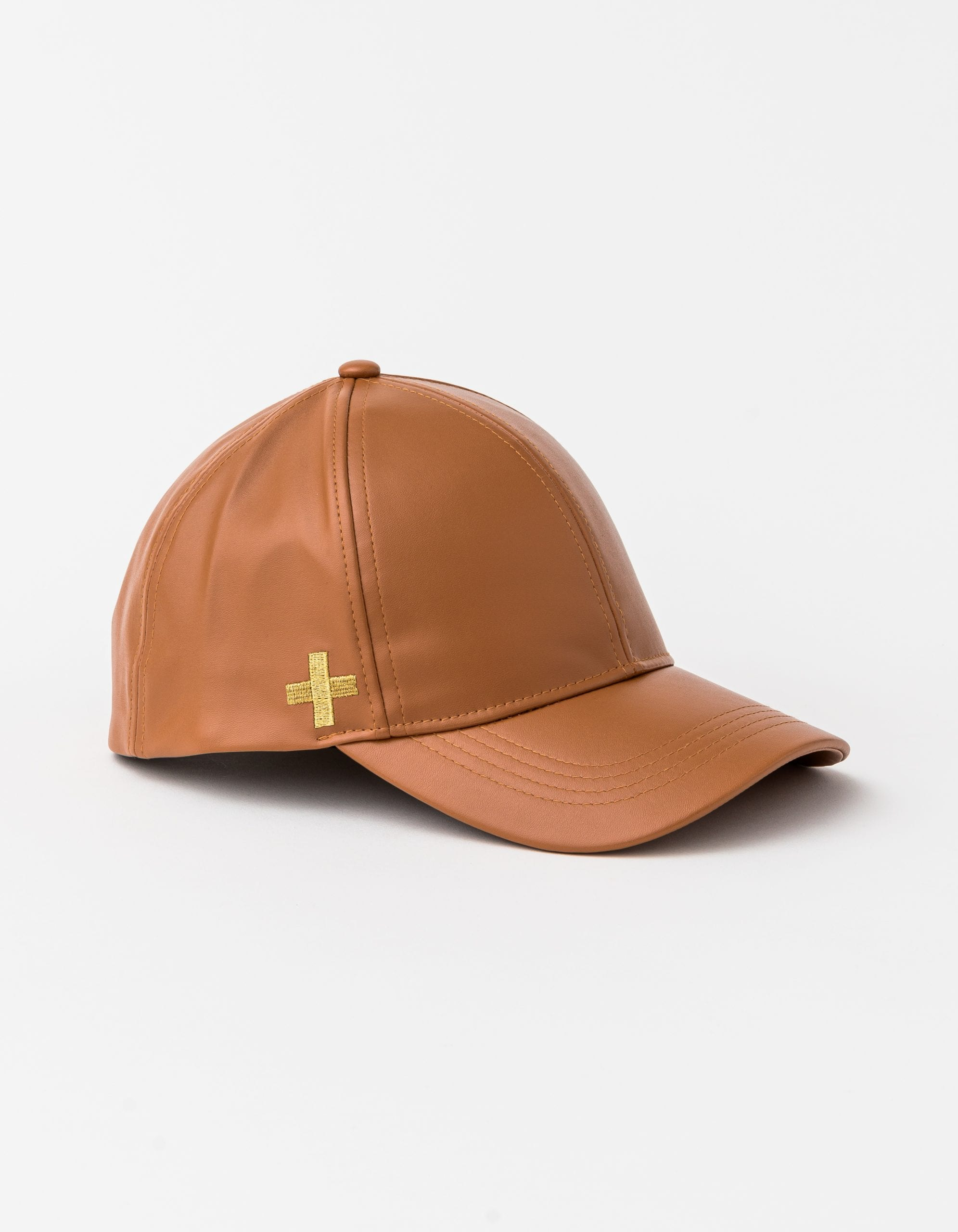 Cap by Stella and Gemma Caramel with Gold Cross