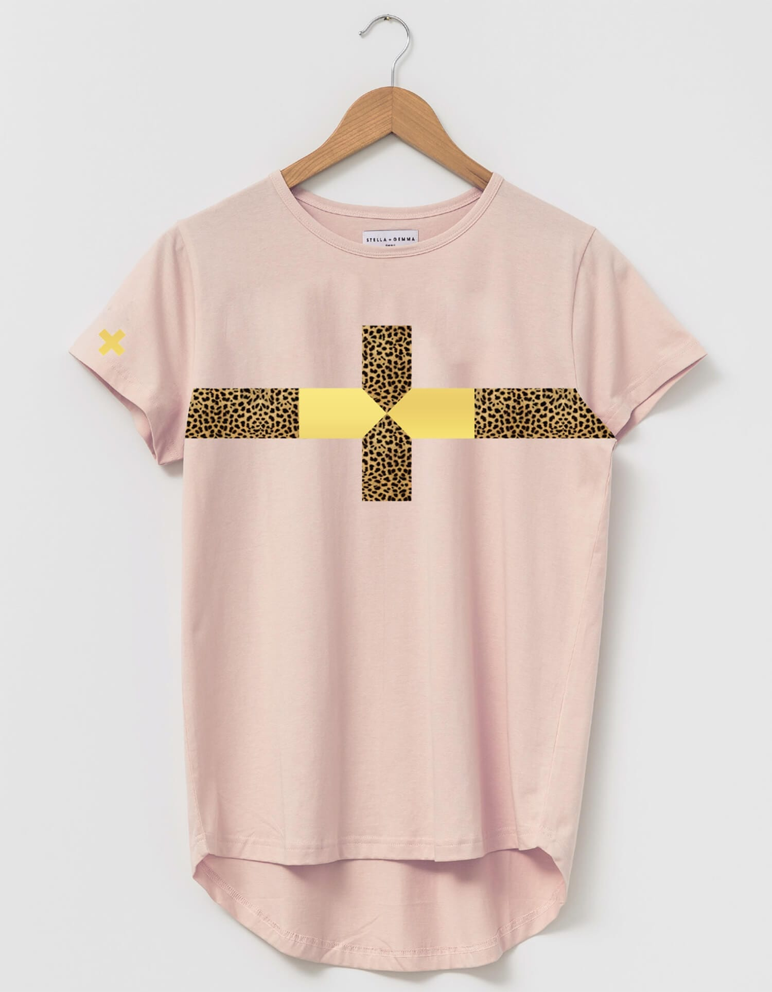 Rose Cheetah Stripe Cross Tee