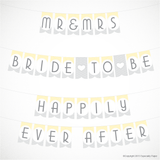 Printable Bridal Shower Banner in Yellow and Gray
