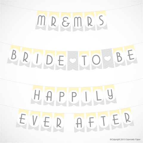 photograph regarding Printable Bridal Shower Signs identified as Printable Bridal Shower Banner inside Yellow and Grey