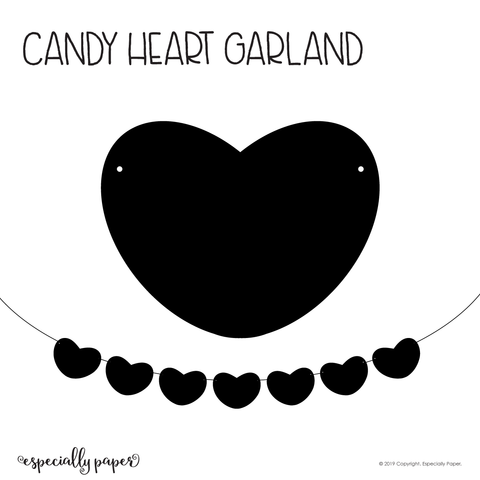 Candy Heart Garland File for Cutting Machines (SVG, DXF & PDF)