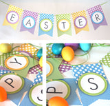 Printable Easter Banner with Dots & Gingham