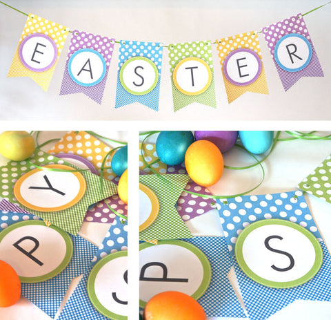 picture regarding Happy Easter Banner Printable identified as Printable Easter Banner with Dots Gingham