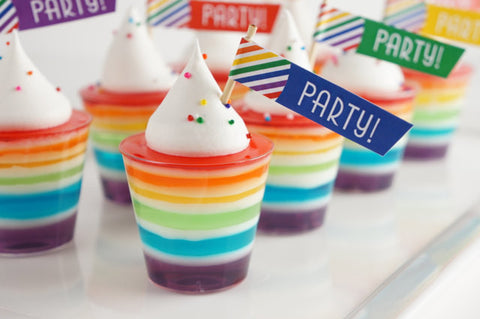 Printable Flags, Rainbow Striped Cupcake Toppers and Straw Flags