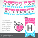 Printable Birthday Banner in Cyan & Magenta