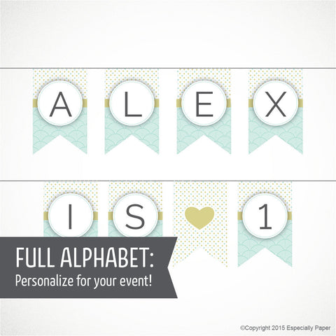 Printable Alphabet Banner in Mint & Pea Green