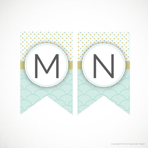 Printable Banner, Full Alphabet in Mint & Pea Green