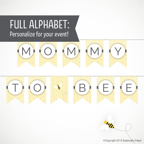 Printable Alphabet Banner in Yellow Honey Bee Theme