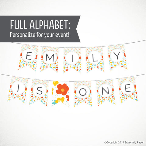 Printable Alphabet Banner in Orange, Yellow & Aqua Flowers and Dots
