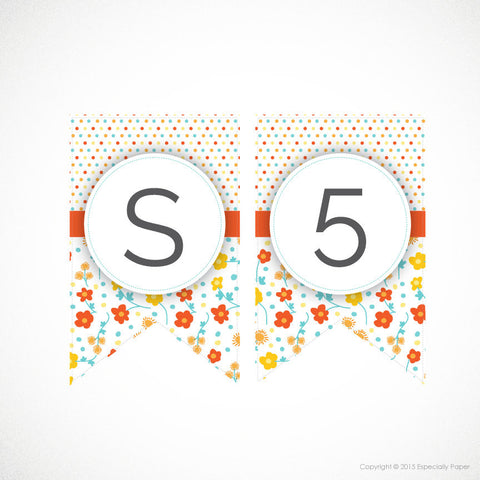 Printable Banner, Full Alphabet in Orange, Yellow & Aqua Flowers and Dots