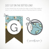 Printable Banner, Full Alphabet in Pale Blue & Brown with Flowers