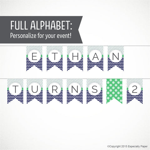 Printable Alphabet Banner in Navy Blue & Jade Green