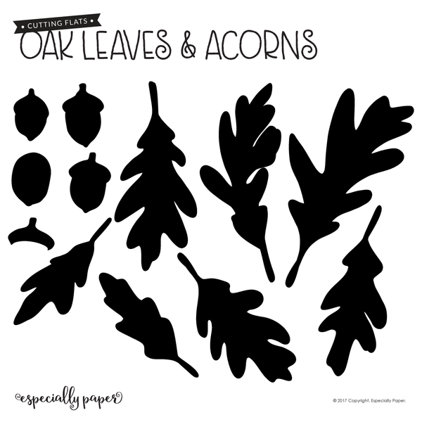 Cutting File Oak Leaves Acorns Template For Cutting Machines Especially Paper