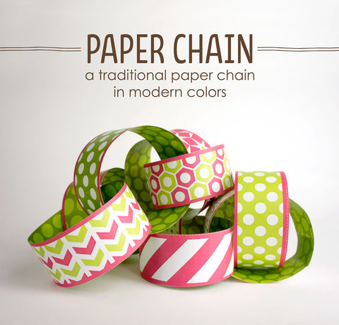 Paper Chain, Magenta and Green Holiday Decorations