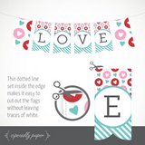 Printable Valentine's Day Banner / Decor in Aqua Stripe (PDF)