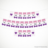 Printable Valentine's Day Banner / Sign in Purple and Pink (PDF)