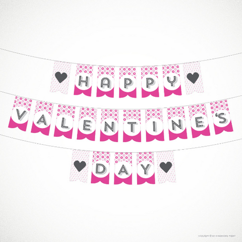 Printable PDF Valentine's Day Banner / Printable Sign in Pink and Gray