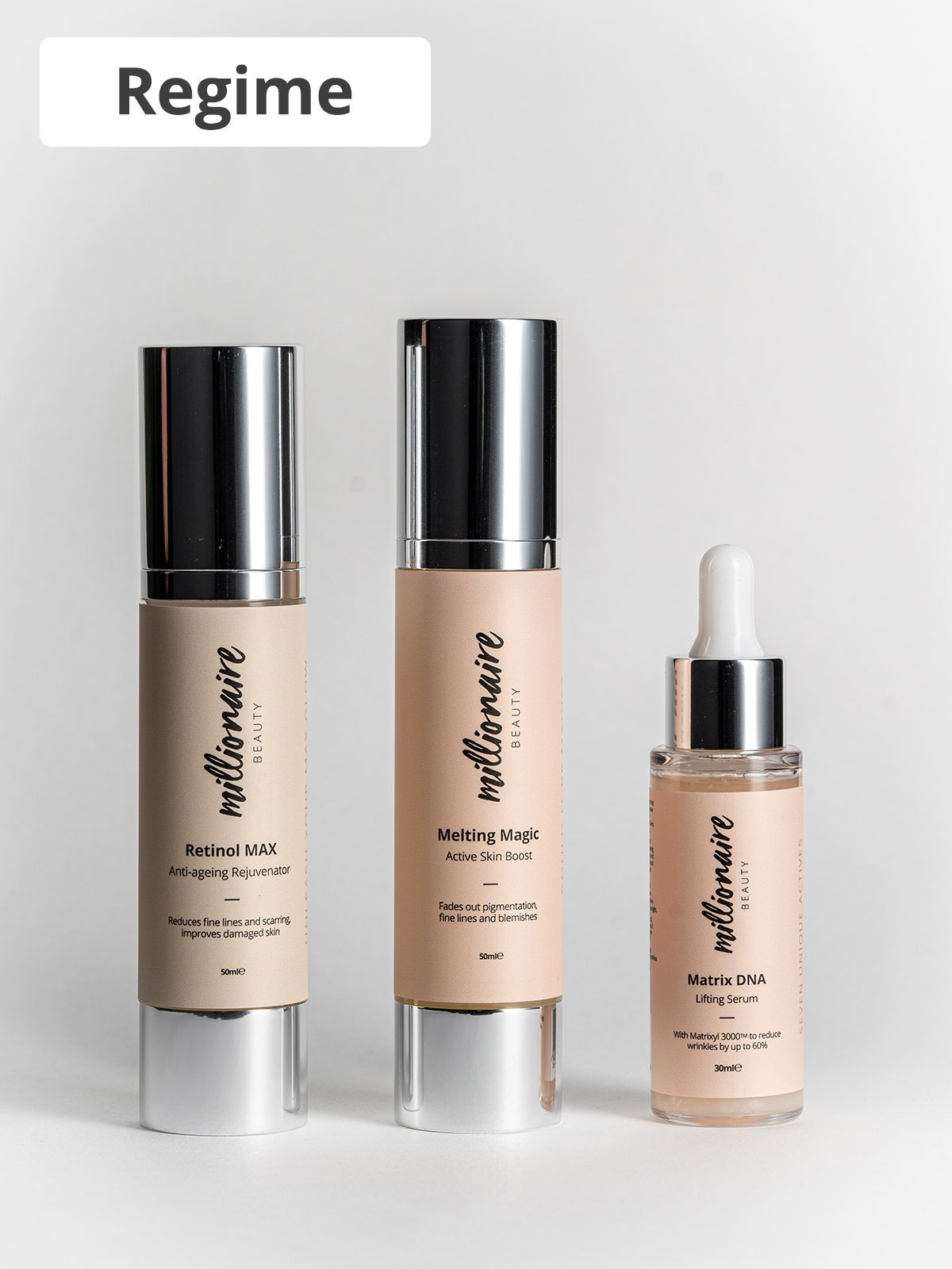 Power Lift Trio - works with your DNA to reverse the signs of ageing, , Millionaire Beauty, Skincare routine, paulas choice, cult beauty, skincare bundle, face serums, night time skincare routine, Morning skincare routine