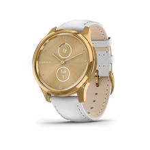 Load image into Gallery viewer, Garmin Vivomove Luxe White Leather 24K True Gold