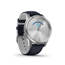 Load image into Gallery viewer, Garmin Vivomove Luxe Navy Leather Silver