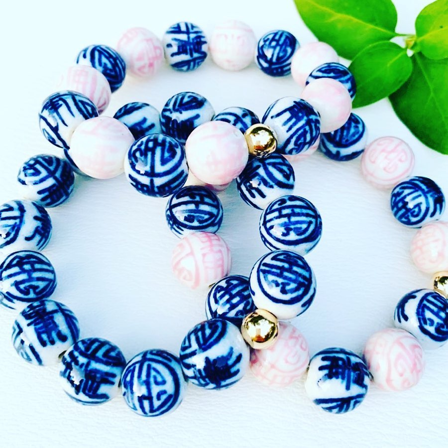Porcelain Stretch Bead Bracelet - Azalea Pink & Traditional Blue