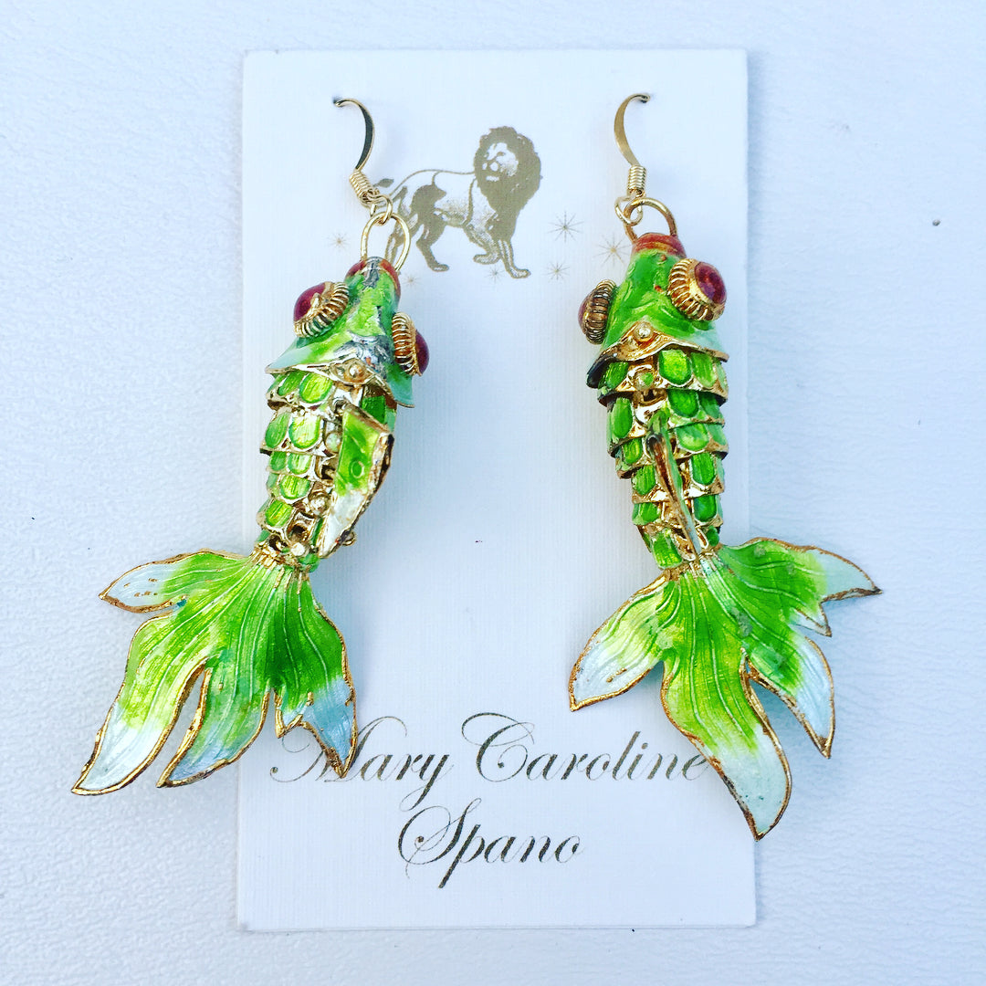 Enamel Koi Fish Earrings