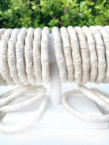"Carved ""Bamboo"" Bracelet - Cream"