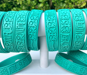 Carved Bangle Bracelet - Turquoise