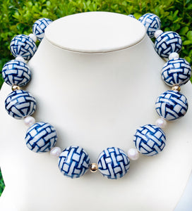 Blue & White Basket Weave Statement Necklace.  Fresh Water Pearls.  14k Gold Filled Stations with Clasp