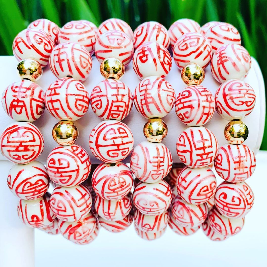 Chinoiserie Porcelain Stretch Bracelet - 14mm Bead